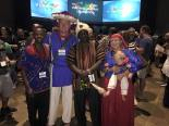 "We dressed up in ""typical/daily use"" Huichol attire for a cultural night at the Vineyard conference. Here we are pictured with some pastors from the Vineyard in Kenya."